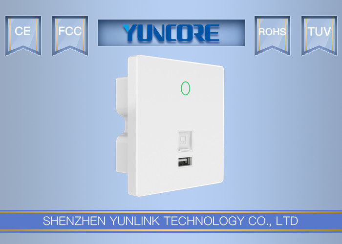 300Mbps Data Rate In Wall Wireless Access Point , USB Charger Touchable In Wall WiFi AP
